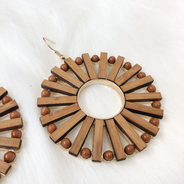 Bali Round Wood Earrings