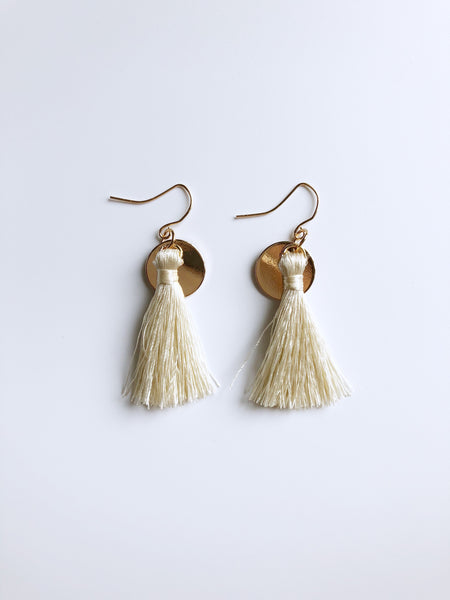 Zoe Tassel Earrings (Cream)