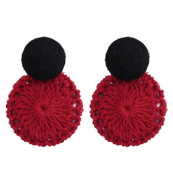 Naomi Weave Earrings (Maroon)