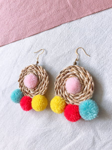 Ida Rattan Pom Pom Earrings 1