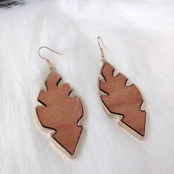 Kent Leaf Wood Earrings