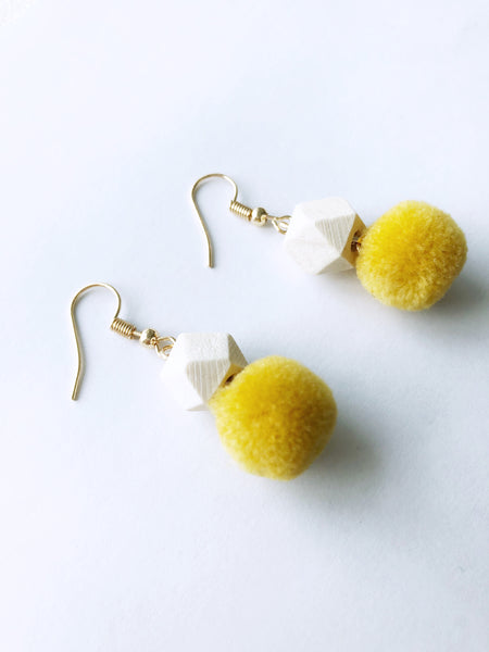Hedy Pom Earrings (Yellow)