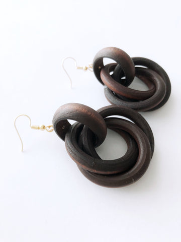 Xylona Earrings (Dark Wood)