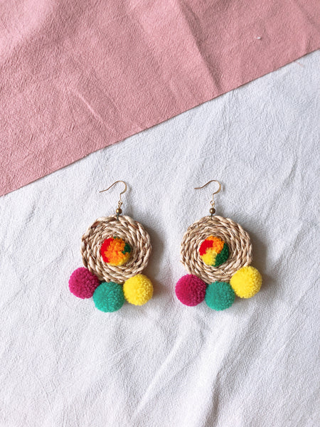 Ida Rattan Pom Pom Earrings 3