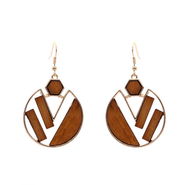 Ruby Dangle Wood Earrings