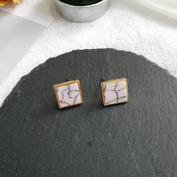 Ada Marble Earrings (Square)