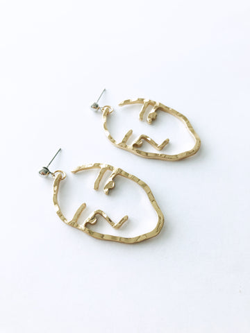 Liviya Face Earrings (Gold)