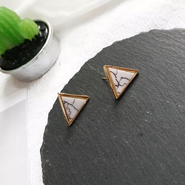 Ada Marble Earrings (Triangle)