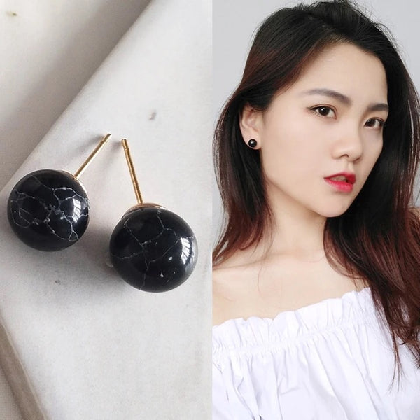 Val Marble Round Earrings (Black)