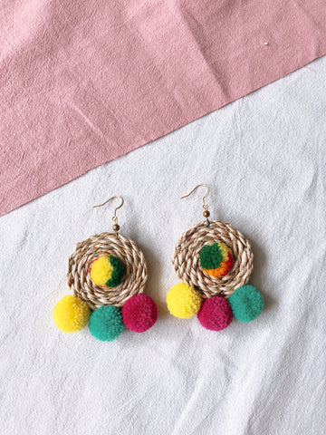 Ida Rattan Pom Pom Earrings 4