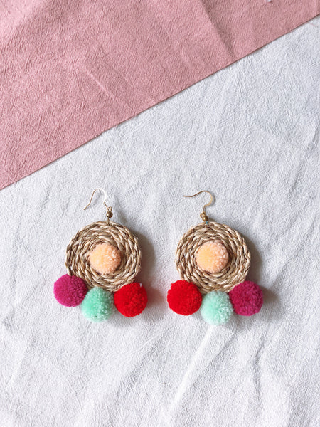 Ida Rattan Pom Pom Earrings 5