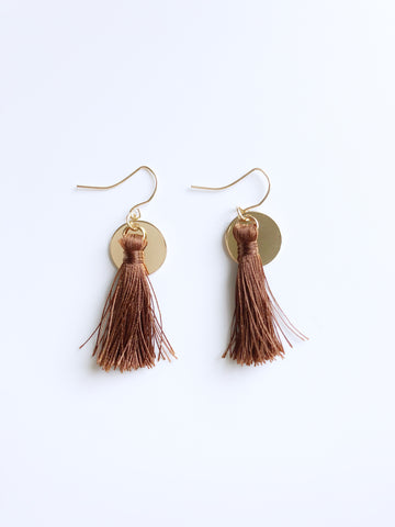 Zoe Tassel Earrings (Brown)