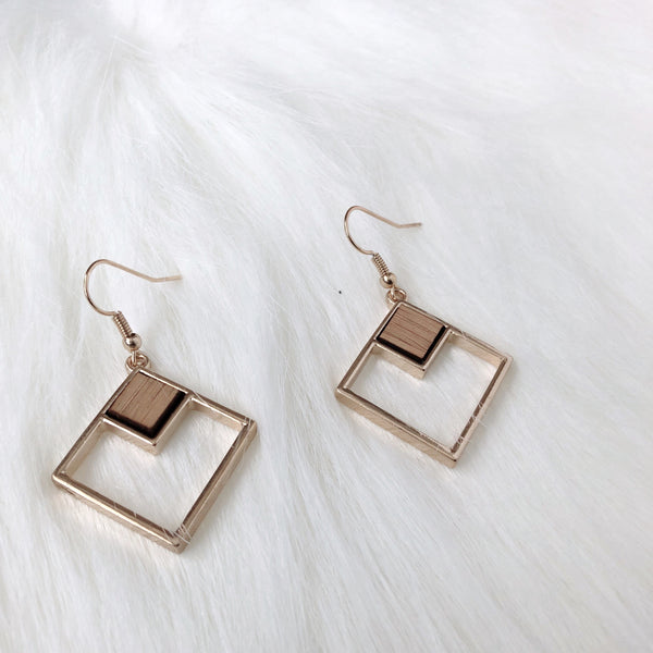 Square Wood Dangle Earrings
