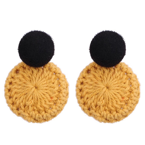 Naomi Weave Earrings (Mustard)