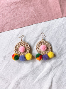 Ida Rattan Pom Pom Earrings 2