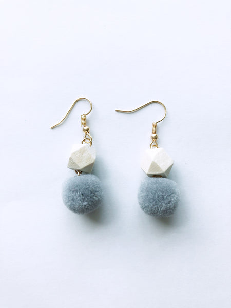 Hedy Pom Earrings (Grey)