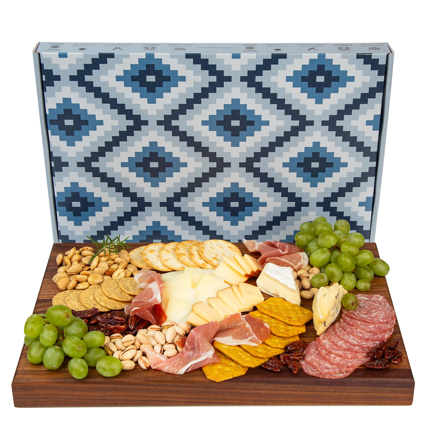 Charcuterie Board- Black Walnut Edge Grain Meat and Cheese Serving Board- Reversible- Doubles as Butcher Block- with Juice Groove and Integrated Handles - (17 x 11 x 1.5 Inches)