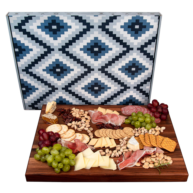 Charcuterie Board- Black Walnut Edge Grain Meat and Cheese Serving Board- Reversible- Doubles as Butcher Block- with Juice Groove and Integrated Handles - (20 x 15 x 1.5 Inches)