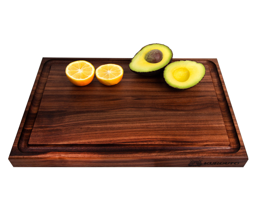 Walnut Edge Grain Butcher Block with Juice Groove and Integrated Handles - Reversible (17 x 11 x 1.5 Inches)- 2oz Butcher Block Conditioner Included