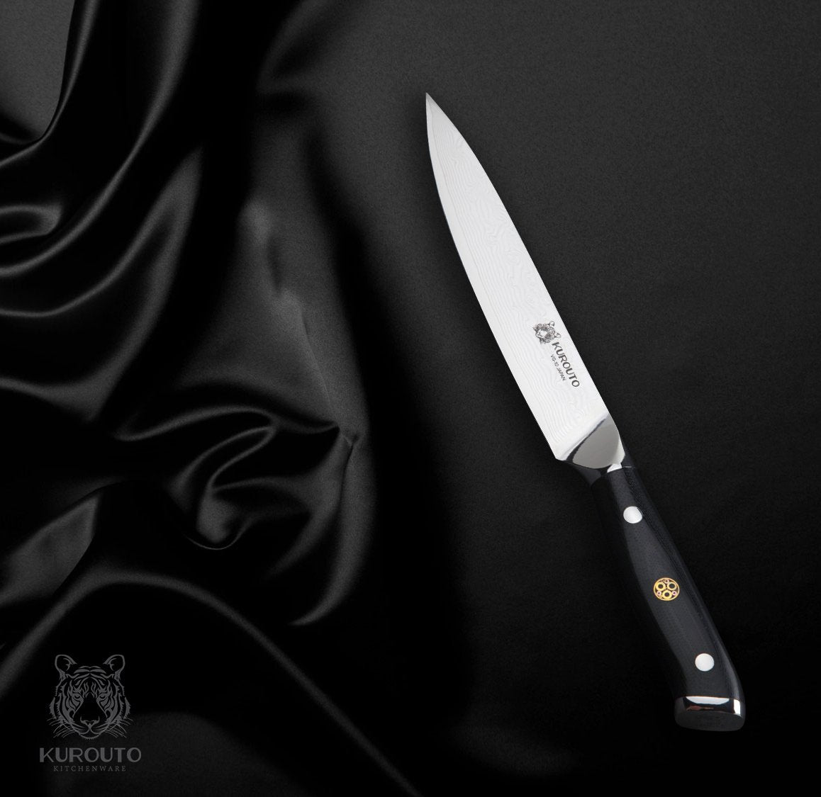5-inch VG10 Utility Knife- 66 layers of High Carbon Damascus Stainless Steel Cladding—Kintaro Series—Kurouto Kitchenware