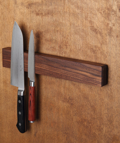Kurouto Kitchenware Walnut Magnetic Knife Block -Made in the USA