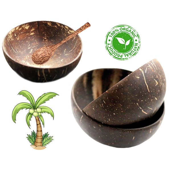 4X Coconut 🥥 Bowls Organic & Sustainable (4X Bowls & Spoons)