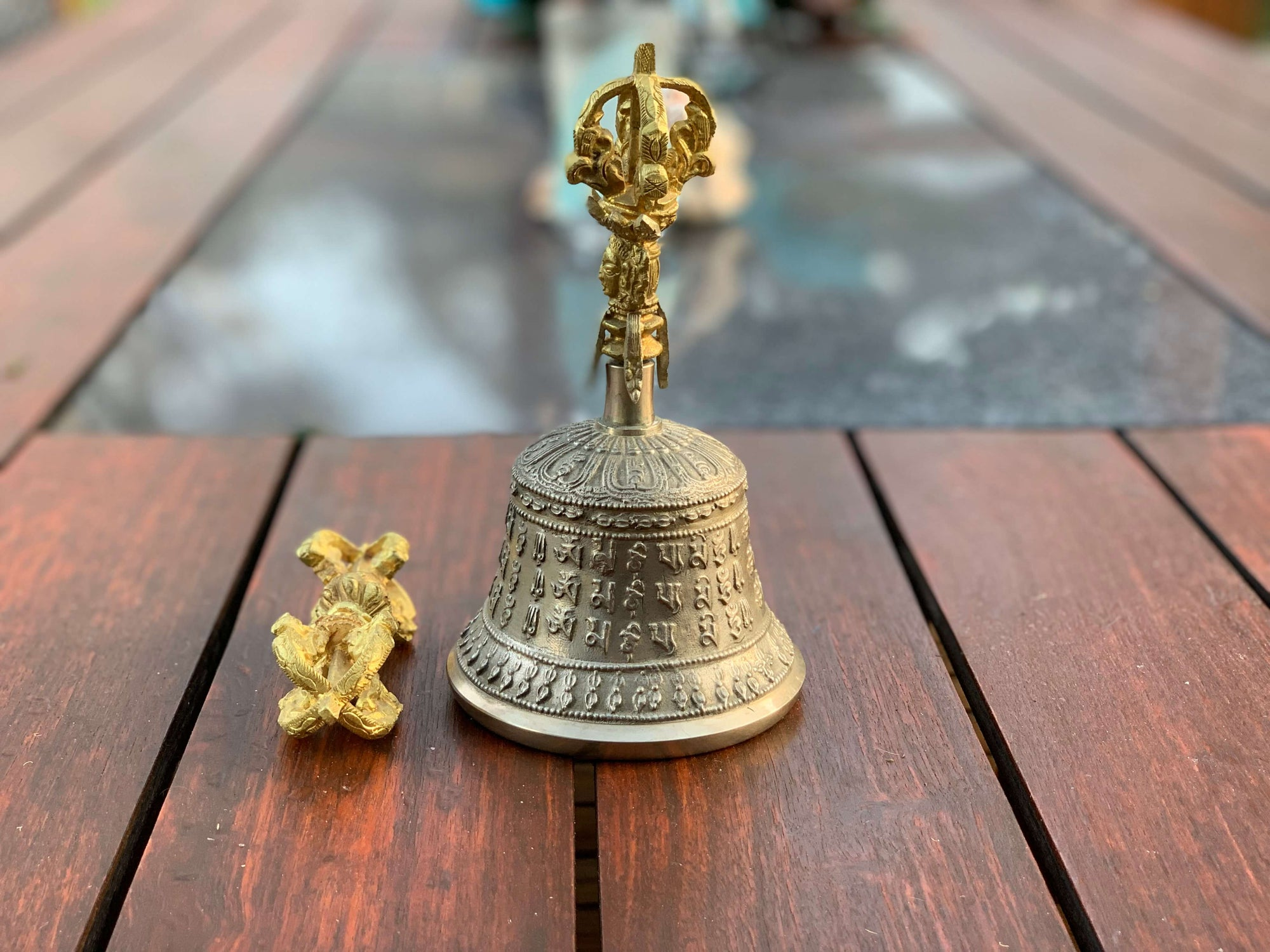 A$129 - BRASS BELL & DORJE SET - HAND MADE IN NEPAL 🇳🇵 0.86KG (1) ISLAND BUDDHA