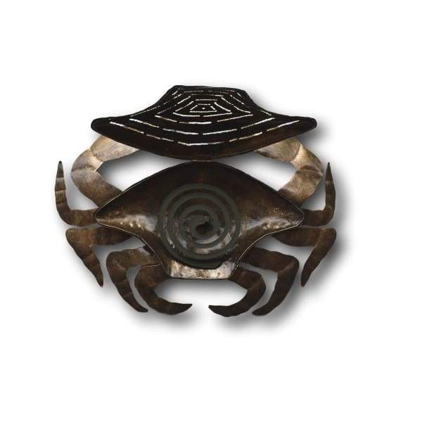 Blue & Red Crab Mosquito Coil Holders - Hand Made Bali Metal Art