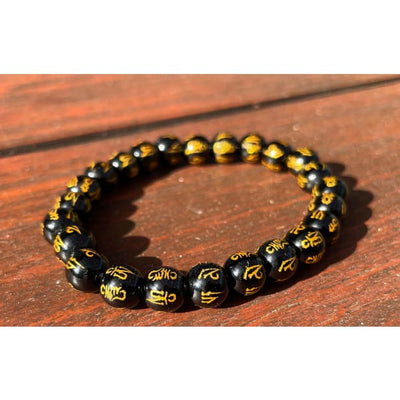 A$29.95 - BUDDHIST STYLE OM MANI PADME HUM BRACELET - HAND MADE FROM STONE IN NEPAL 🇳🇵 0.2KG (1) ISLAND BUDDHA