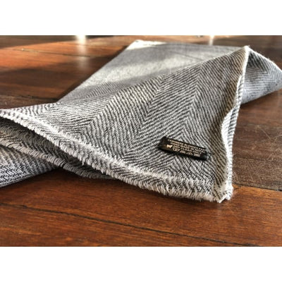 A$74.95 - CASHMERE PASHMINA SCARF - HAND MADE IN NEPAL 🇳🇵UNISEX GEOMETRIC GREY 0.4KG (36) ISLAND BUDDHA