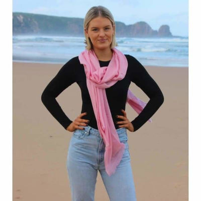 A$74.95 - CASHMERE PASHMINA SCARF - HAND MADE IN NEPAL 🇳🇵UNISEX LIGHT PINK 0.4KG (2) ISLAND BUDDHA