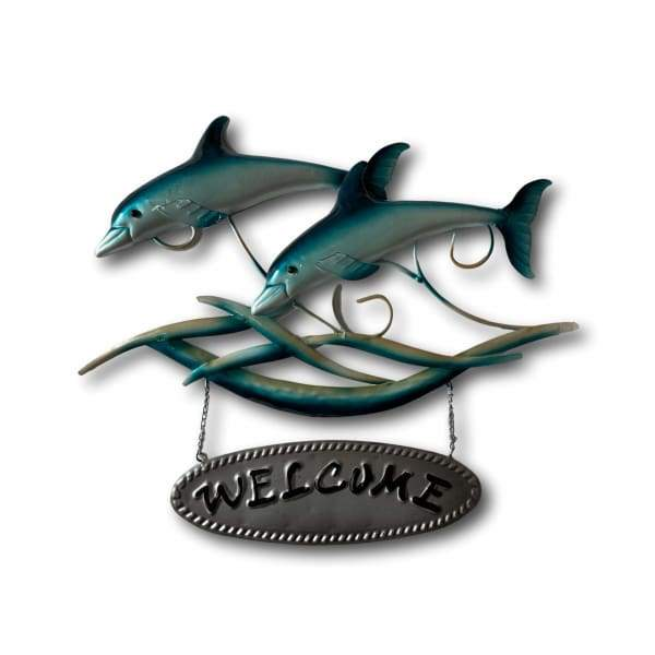 Dolphins Welcome Sign Wall Art - Hand Made Metal Art
