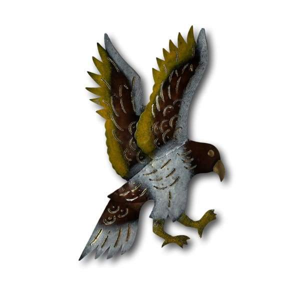 Flying Hawk Swooping Bird Of Prey Wall Art - Hand Made Bali Metal Art