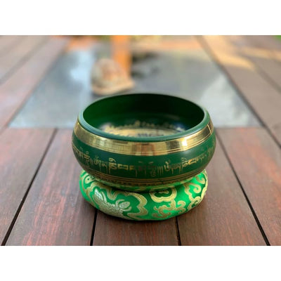 A$129 - GENUINE NEPALESE SINGING BOWL - MACHINE MADE IN NEPAL (E4) GREEN 1.5KG (7) ISLAND BUDDHA