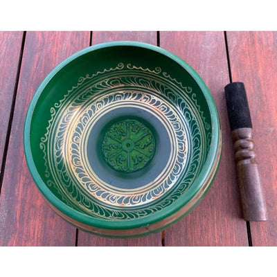 A$129 - GENUINE NEPALESE SINGING BOWL - MACHINE MADE IN NEPAL (E4) GREEN 1.5KG (4) ISLAND BUDDHA