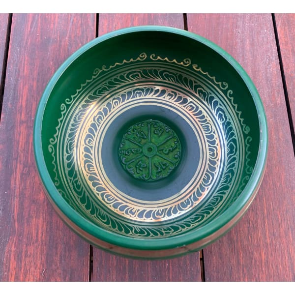 A$129 - GENUINE NEPALESE SINGING BOWL - MACHINE MADE IN NEPAL (E4) GREEN 1.5KG (1) ISLAND BUDDHA