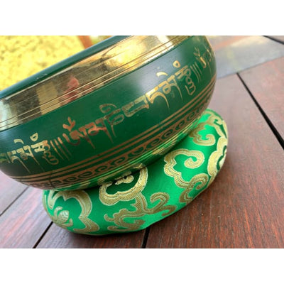 A$129 - GENUINE NEPALESE SINGING BOWL - MACHINE MADE IN NEPAL (E4) GREEN 1.5KG (5) ISLAND BUDDHA
