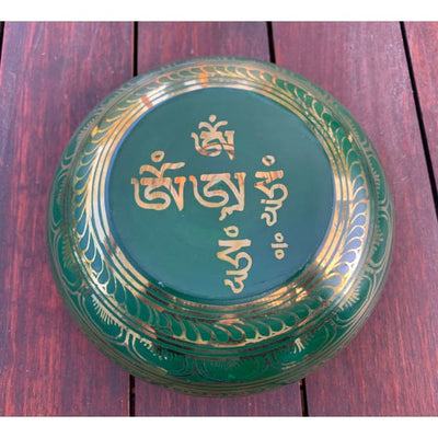 A$129 - GENUINE NEPALESE SINGING BOWL - MACHINE MADE IN NEPAL (E4) GREEN 1.5KG (6) ISLAND BUDDHA