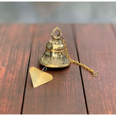 A$44.95 - GOLD BRASS BUDDHIST BELLS NEPALESE WIND CHIME - HAND MADE IN NEPAL🇳🇵 LARGE 0.25KG (3) ISLAND BUDDHA