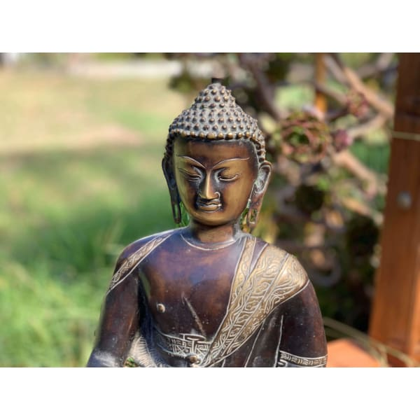 Large Brass Buddha Statue Hand Crafted In Nepal 🇳🇵