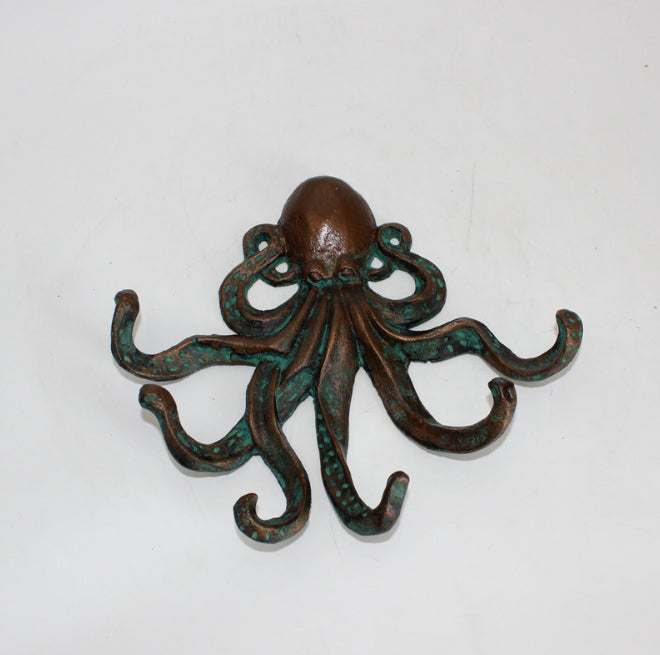 Octopus 6 Tentacles Wall Hooks - Nautical Cast Iron Home Decor