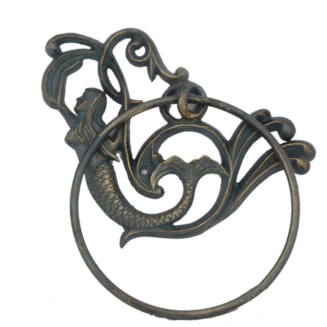 Mermaid Bathroom Hand Towel Ring Holder - Nautical Cast Iron Home Decor