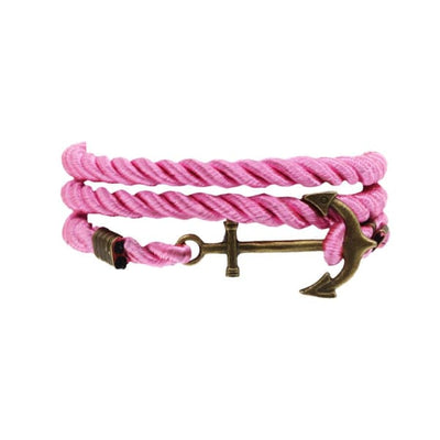 A$14.95 - NAUTICAL ROPE & ANCHOR BRACELET PINK 0.05KG (2) ISLAND BUDDHA