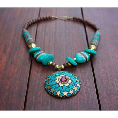 A$89.95 - NEPALESE STONE TURQUOISE & CORAL TRIBAL STYLE BOHO NECKLACE - HAND MADE & CRAFTED IN NEPAL 🇳🇵 0.2KG (2) ISLAND BUDDHA