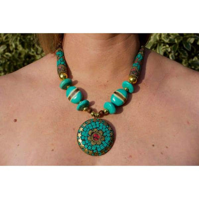 A$89.95 - NEPALESE STONE TURQUOISE & CORAL TRIBAL STYLE BOHO NECKLACE - HAND MADE & CRAFTED IN NEPAL 🇳🇵 0.2KG (9) ISLAND BUDDHA