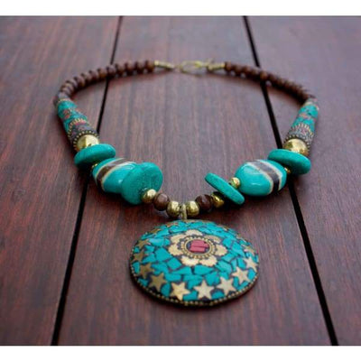 A$89.95 - NEPALESE STONE TURQUOISE & CORAL TRIBAL STYLE BOHO NECKLACE - HAND MADE & CRAFTED IN NEPAL 🇳🇵 0.2KG (1) ISLAND BUDDHA