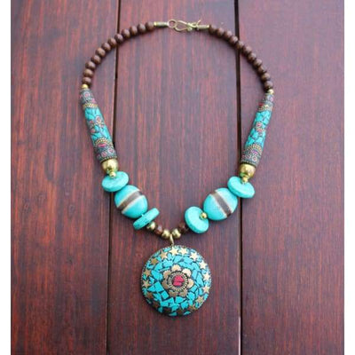 A$89.95 - NEPALESE STONE TURQUOISE & CORAL TRIBAL STYLE BOHO NECKLACE - HAND MADE & CRAFTED IN NEPAL 🇳🇵 0.2KG (4) ISLAND BUDDHA