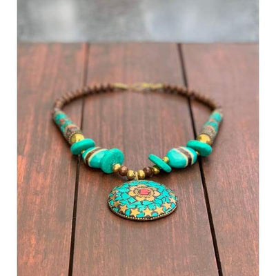 A$89.95 - NEPALESE STONE TURQUOISE & CORAL TRIBAL STYLE BOHO NECKLACE - HAND MADE & CRAFTED IN NEPAL 🇳🇵 0.2KG (15) ISLAND BUDDHA