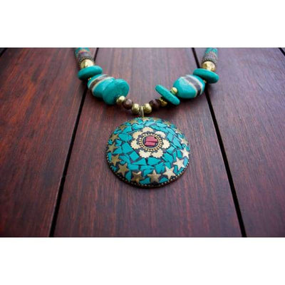 A$89.95 - NEPALESE STONE TURQUOISE & CORAL TRIBAL STYLE BOHO NECKLACE - HAND MADE & CRAFTED IN NEPAL 🇳🇵 0.2KG (3) ISLAND BUDDHA
