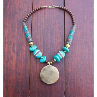 A$89.95 - NEPALESE STONE TURQUOISE & CORAL TRIBAL STYLE BOHO NECKLACE - HAND MADE & CRAFTED IN NEPAL 🇳🇵 0.2KG (6) ISLAND BUDDHA